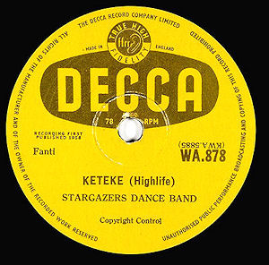 Disc label, side A; DECCA WA 878; Stargazers Dance Band : Keteke